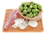 Brussels sprouts, onion and bacon