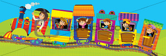 Big cartoon train with kids