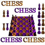 Big chess poster with garnet amethyst precious stone figures isolated on white background.