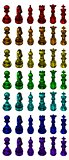 Big chess poster made from precious stone figures isolated on white background.