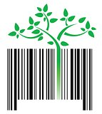 bar code with green sprouts growing