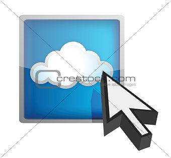 Blue cloud computing icon
