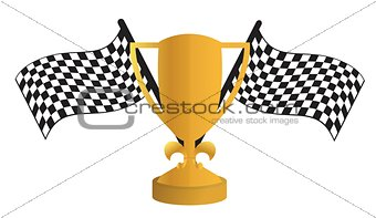 Golden Trophy and flags
