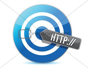 "arrow and word "" http://"" target"