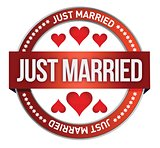 Just Married stamp print