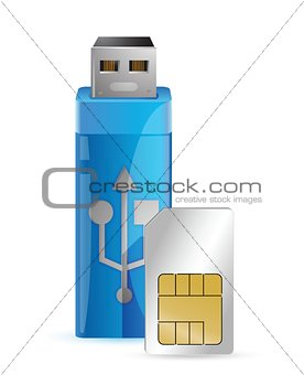 one internet key with a sim card