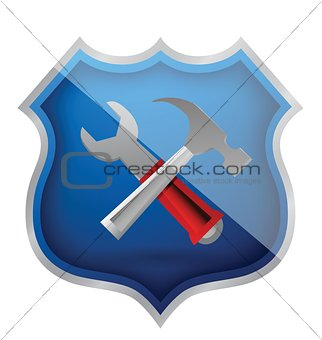 shield hammer and Wrench Icon
