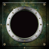 Dark Green Grunge Metal Porthole