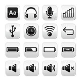 Electronic device / Computer software buttons set - vector