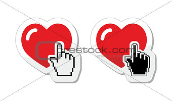 Heart with cursor hand labels - valentines, love, finding partner online concept