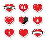 Love hearts labels set for Valentines Day