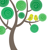 Decorative composition of two birds on the tree