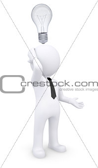 Puzzled white 3d man with light bulb over his head