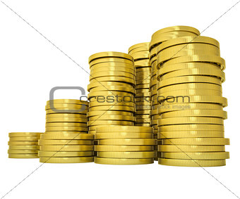 Pile gold coins