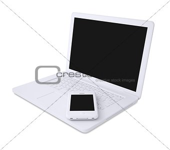 White laptop and smartphone