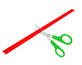 Green scissors cut the red ribbon