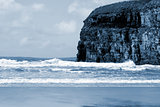 Atlantic waves crashing on Ballybunion beach and cliffs
