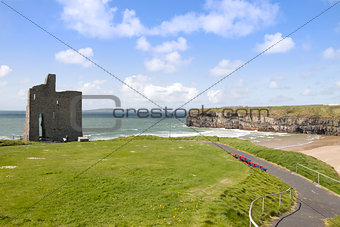 beautiful view of Ballybunion cliffs castle and beach