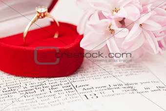 Bible and engagement ring