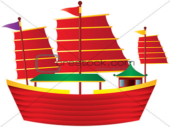 Chinese Junk Sail Boat Illustration