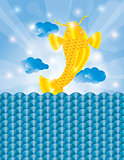 Chinese Fish Jumping out of Water Background