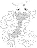 Japanese or Chinese Koi Fish Line Art