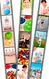 Film Strip Montage Men &amp; Women Healthy Diet Exercise