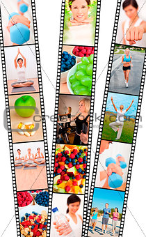 Film Strip Montage Men & Women Healthy Diet Exercise