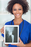 African American Woman Doctor X-Ray Tablet Computer