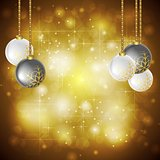 Golden Christmas background. Vector illustration