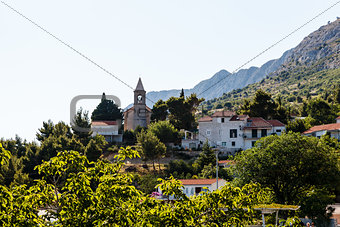 Small Church and the Bell Tower on the Hill near Split, Croatia