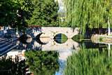 Picturesque Landscape, Stone Bridge, River and Willow, Solin, Cr