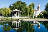 Picturesque Landscape, Church, Pavilion, River and Willow, Solin