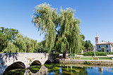 Picturesque Landscape, Church, Bridge, River and Willow, Solin, 