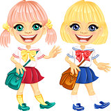 Vector smiling blonde cute schoolgirls