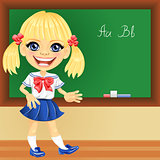 Vector smiling schoolgirl near blackboard