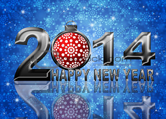 2014 Happy New Year Snowflakes Ornament Illustration