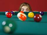 Checking for a shot while playing pool