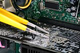Computer technician repairing concept of troubleshooting and maintenance