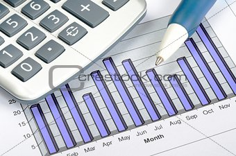 Business charting concept of financial report
