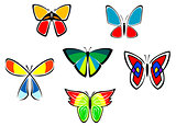 Colorful butterfly icons and tattoos