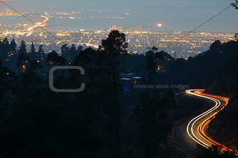 Light trails above San Francisco bay