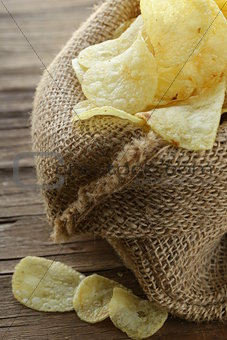 natural organic potato chips in a linen bag