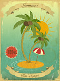 Retro Vintage Grunge Summer Vacation Postcard