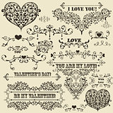 Vector Vintage Valentine's  Design Elements