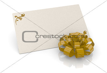 bow and greeting card