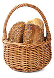 healthy bread in basket isolated 