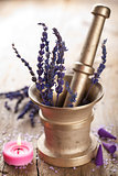 mortar with lavender