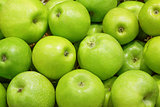 Closeup of many green apple fruits