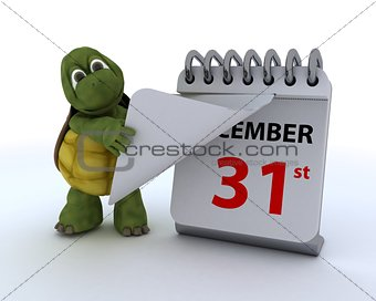 tortoise with a calendar